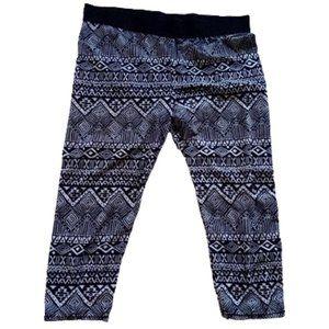 Black White Jersey Capri Pants XL